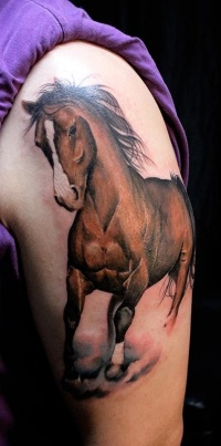 Beautiful realistic horse tattoo