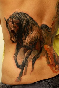 Great watercolor horse tattoo on back
