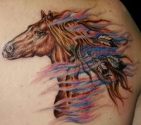 Indian horse tattoo on back